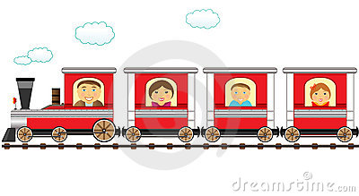 Train and cheerful catroon family