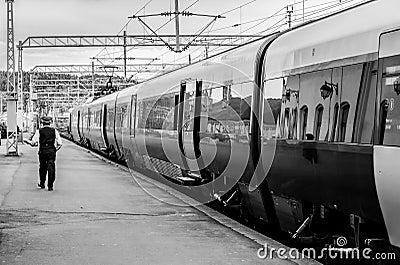 Train and conductor - black white