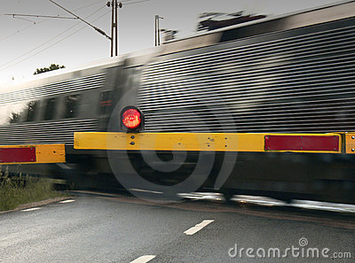 Train crossing the Road