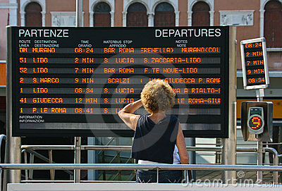 Train departure information Editorial Stock Image