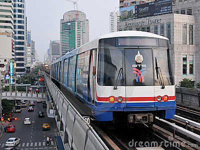 Train on Elevated Railway in Bangkok Editorial Stock Photo