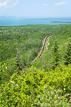 Train going through northern Ontario Canada