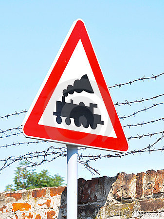 Train line crossing - Road sign