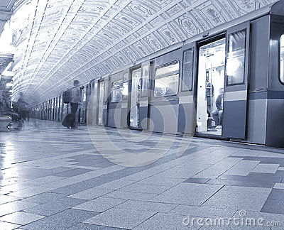 Train at the metro station.