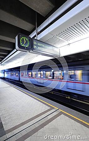 Train in metro station, Vienna, Austria