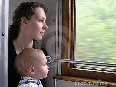 Train mother with son