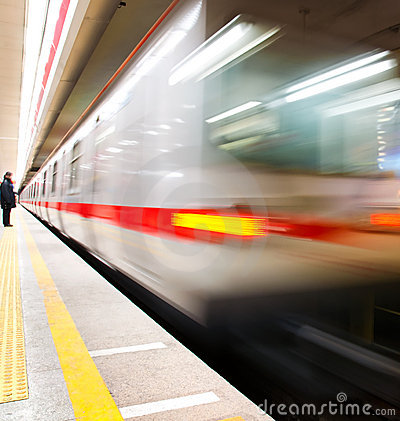 Train motion blur subway