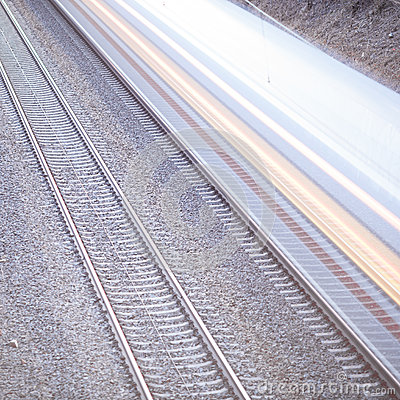 Train with motion on rails
