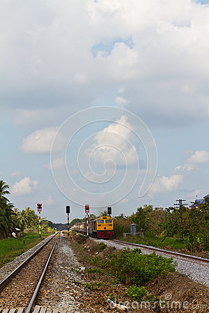 Train moving on railway