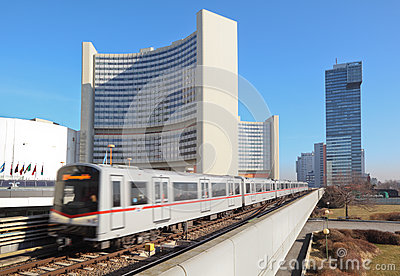 Train near UN building of United Nations Editorial Image