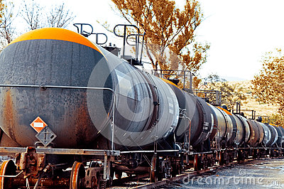Train with oil cargo