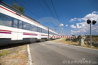 Train passing level crossing