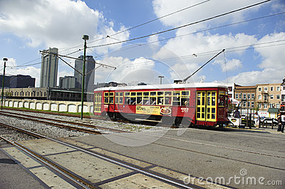 A train passing by in new orleans Editorial Image