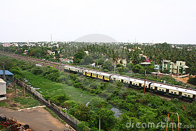 Train Passing through Suburbs of Chennai, India