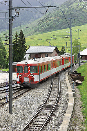 Train passing a village