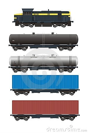 Free Train + Rail Cargo Cars Set Royalty Free Stock Photo - 10509855