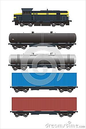 Train + rail cargo cars set