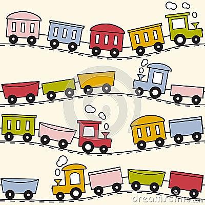 Train and rails - seamless pattern