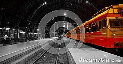 Train in railway station