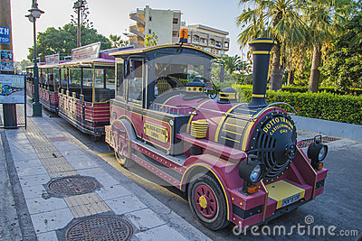 By train in rhodes Editorial Stock Photo