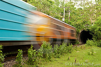 Train running in to tunnel