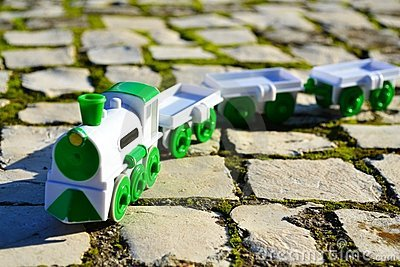 Train on a Sidewalk