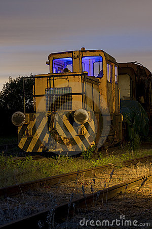 Train at sidings light painted