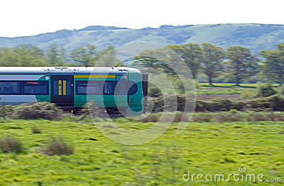Train Speeding through Countryside