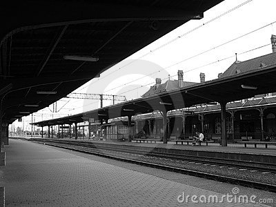 At the train station