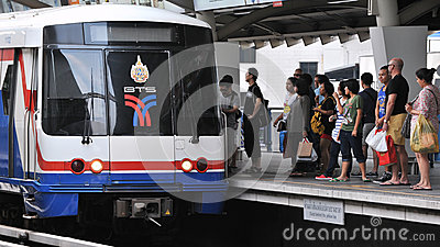 Train at a Station Editorial Stock Image