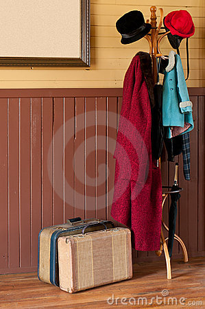 Train Station Coat Rack & Luggage