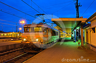 Train station in evening light (HDR), France
