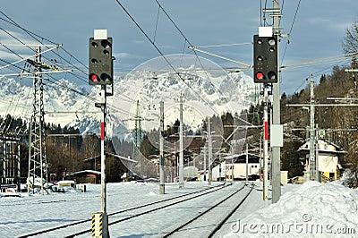 Train station in Kitzbuhel, Austria