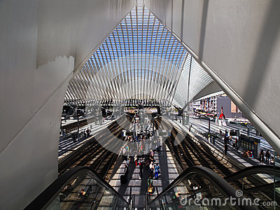 Train Station in Liege-Guillemins Editorial Image