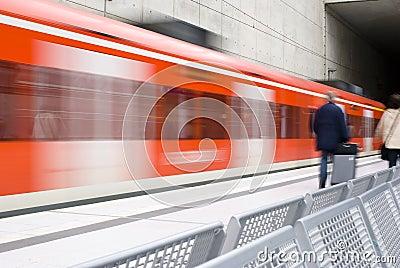 Train station, moving train