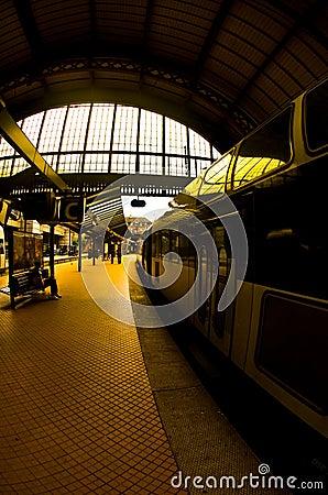 Train at station platform