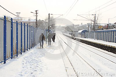 Train station in the snow Editorial Stock Photo