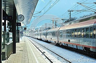 Train station in winter time. Kitzbuhel Austria Editorial Stock Image