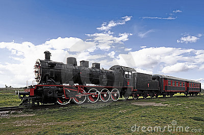 Train and steam locomotive