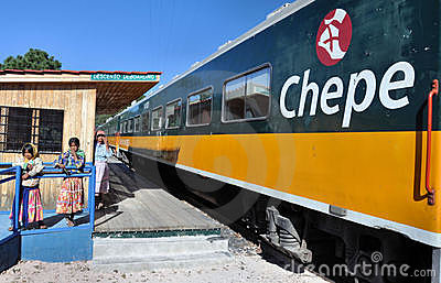 Train and Tarahumara indians Editorial Photography