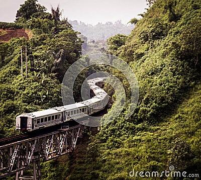 Free Train Through The Mountain Stock Image - 90140011