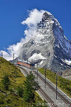 Free Train To Matterhorn, Zermatt Railway To Gornergrat Stock Image - 23587581