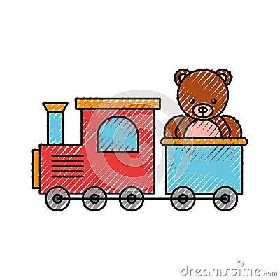 Train toy with bear teddy Vector Illustration
