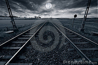 Train track and full moon