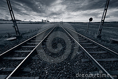 Train track into horizon