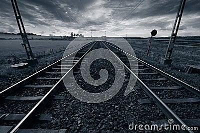 Train track into horizon