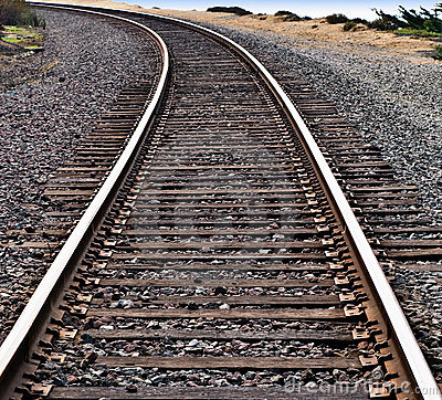Train Tracks Around A Curve Stock Photography - Image: 11434782