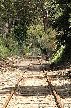 Train tracks going into distance