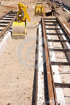 Train tram road works