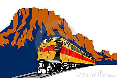 Train travelling with canyon